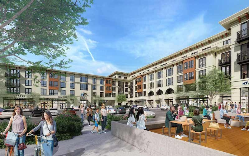 rendering of the outside of the property showing nearby retail and walking opportunities